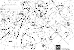 UK Met Office Synoptic Analysis for 9th August 2012, valid 00 UTC